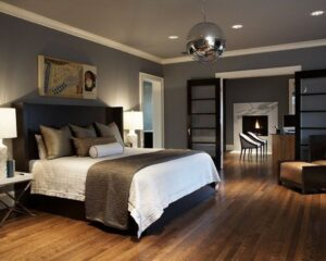 Grey Two Colour Combination for Bedroom Walls